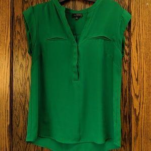 LIMITED, M, green v-neck blouse